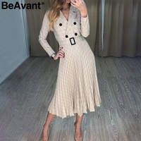 BeAvant V neck plaid blazer dress women Long sleeve elegant pleated dresses office ladies belt 2019 Autumn winter vestidos robe