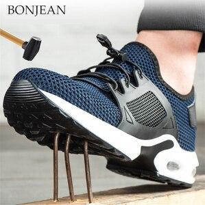 Мужская Безопасная рабочая обувь, Мужская Уличная обувь со стальным носком, ботильоны в стиле милитари, неразрушенные стильные дышащие кро...