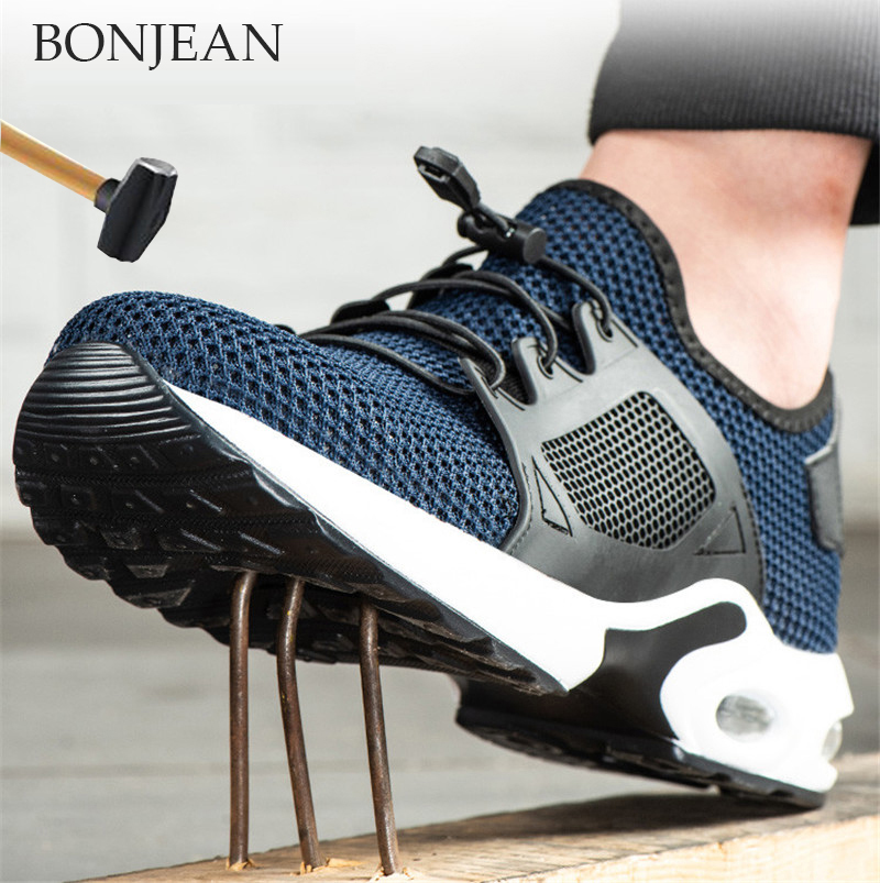 Mens Work Shoes Steel Toe Boots Indestructible Military Breathable Mesh Sneakers