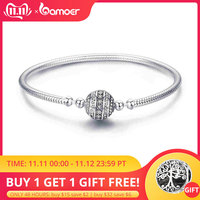 COUPON SAVE $2 100% 925 Sterling Silver Dazzling Clear CZ Round Clasp Snake Chain Bracelet Sterling Silver Jewelry SCB062