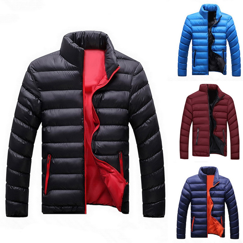 Men Winter Jackets Hooded Parka Coats Thick Padded Zipper Jackets Casual Solid Color Windbreaker Parkas Cotton Large Size Coats