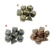 Металлические игральные кости 7 шт./компл., игральные кости для ролевых игр D & D, волшебные реквизиты D4 D6 D8 D10 D12 D20