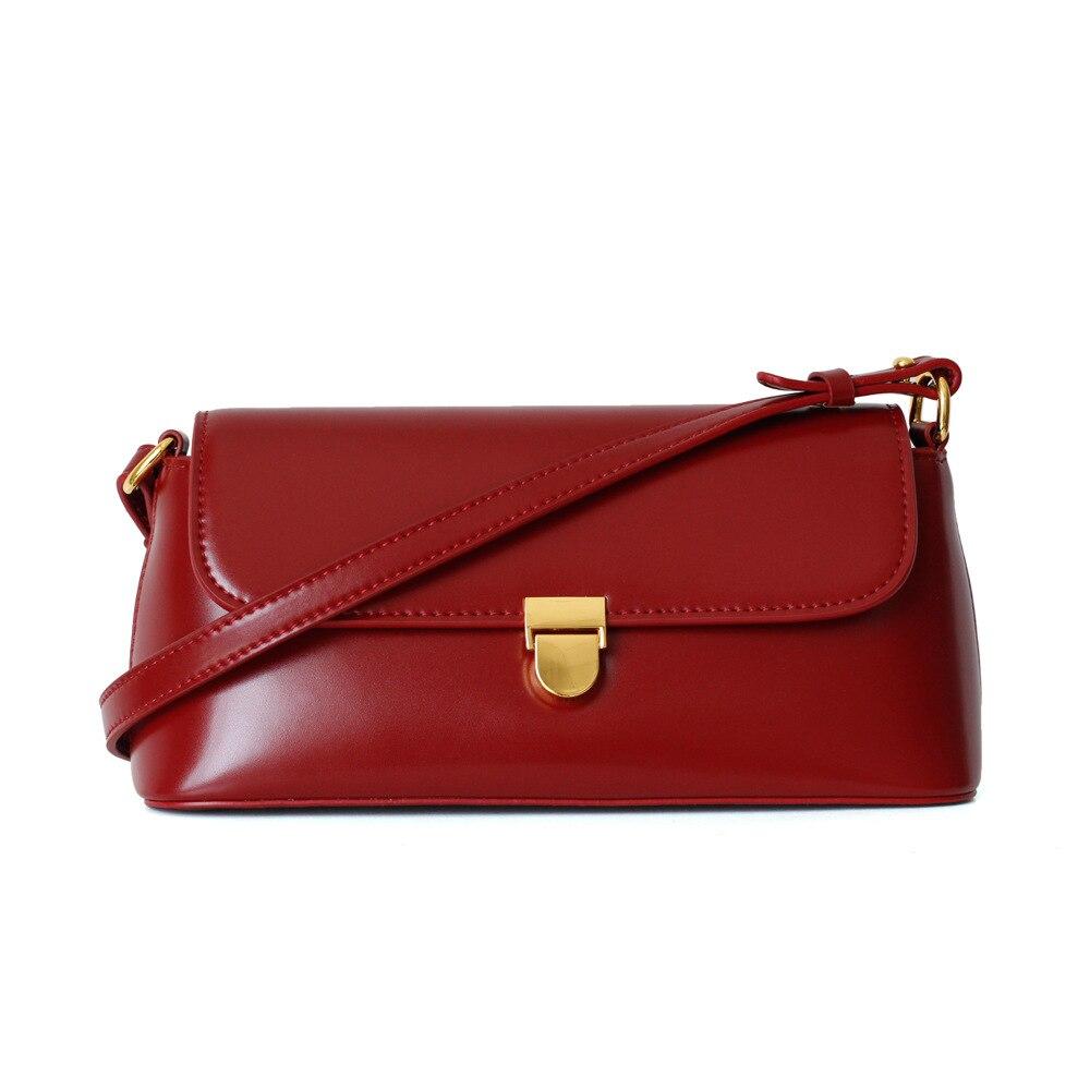Retro Genuine Leather Shoulder Bags for Women 2021 High Quality Real Leather Handbags Purse Luxury Designer Ladies Messenger Bag