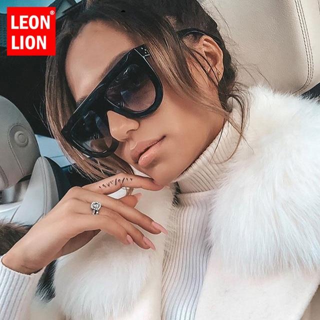 LeonLion Retro Sunglasses Women 2019 Vintage Glasses For Women Big Sunglasses Women Luxury Brand Mirror Oculos De Sol Feminino