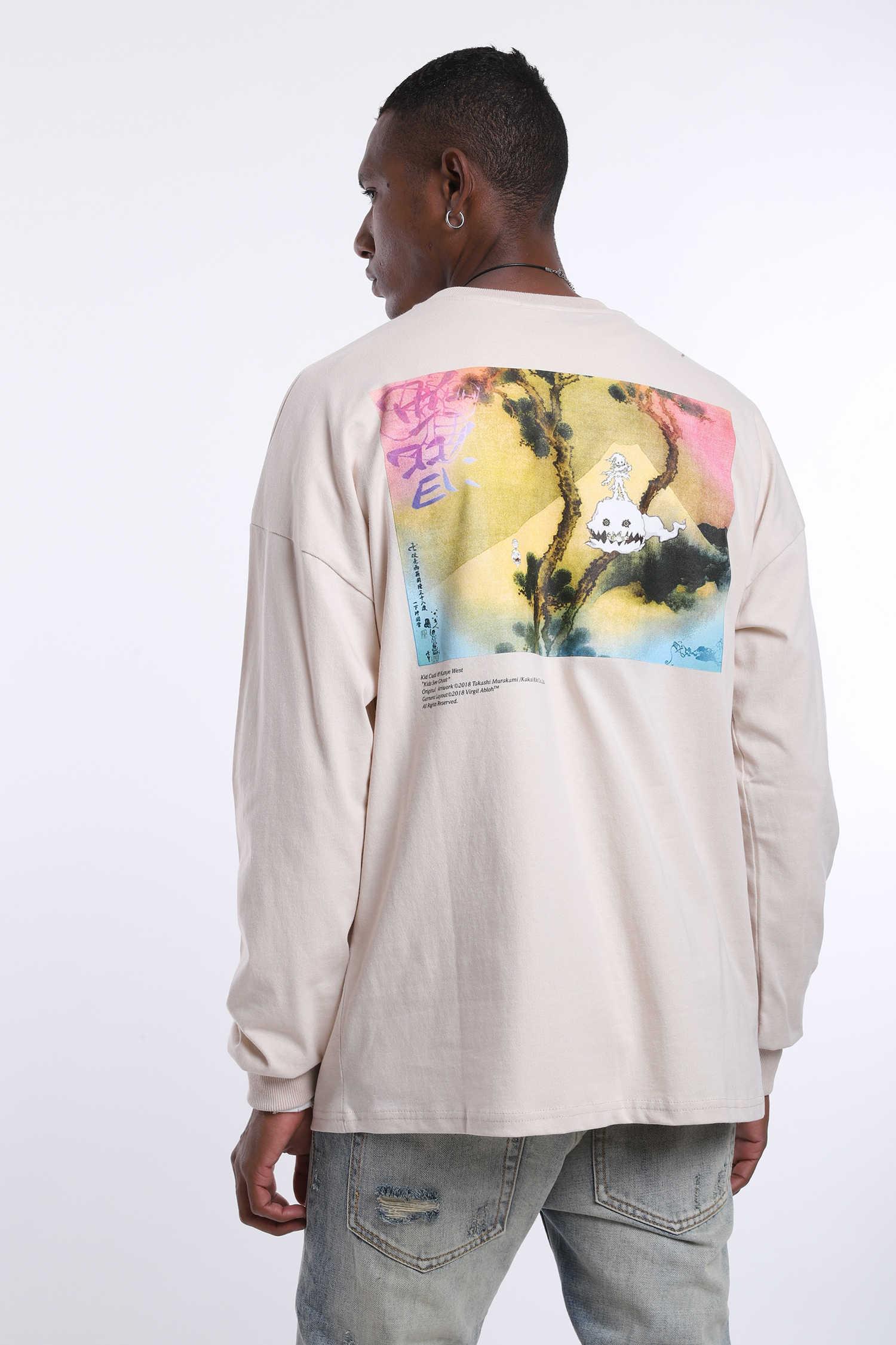 سترة ذات وزن ثقيل مطبوع عليها حروف جرافيتي ويست من Kanye West ملابس بقلنسوة للرجال على طراز الهيب هوب بقلنسوة