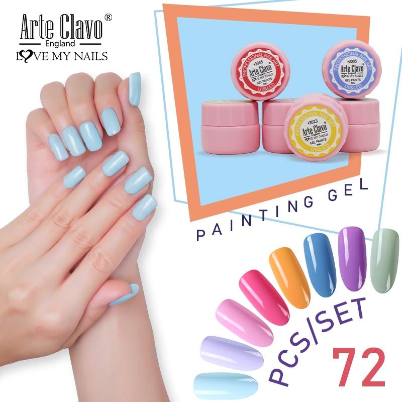 Arte Clavo 72 Colors/Set Painting Gel Nail Art Ice Nails Polish Jelly Gel 5ml Wholesale UV LED Lamp Soak Off Gel Nail Varnish