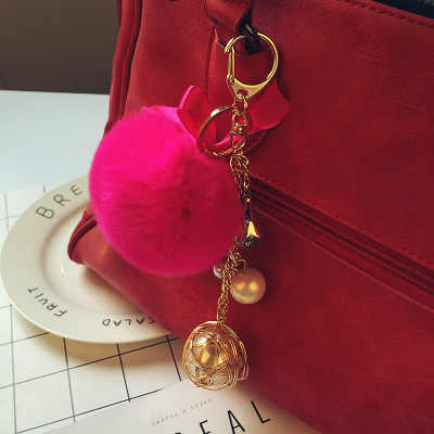 Pele de coelho rosa bonito carro com chave de couro das senhoras de pelúcia pendurado anel de pom-pom chaveiro bola de cabelo falso pom Pom fofo saco do anel chave