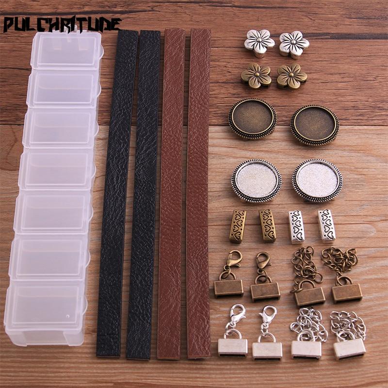 1 takım iki renk deri toka/deri halat/Messenger kutusu DIY takı yapımı Fit 18mm deri kordon