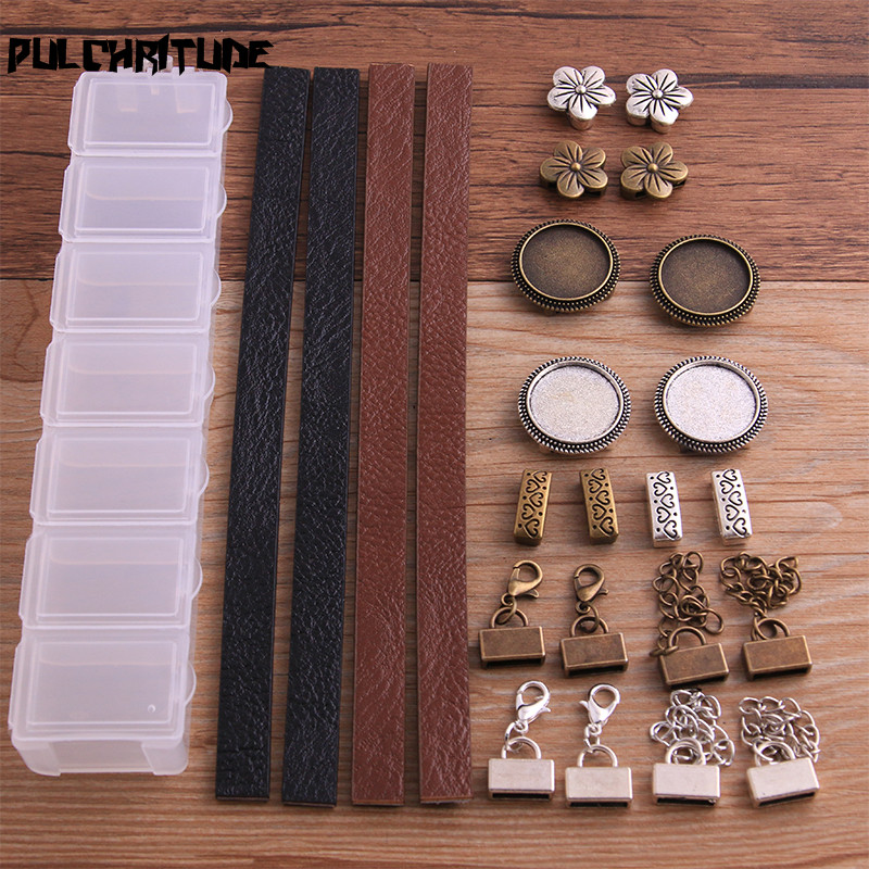 PULCHRITUDE 1Set Two Color Leather Buckle /Leather Rope/Messenger Box DIY Jewelry Making For 10mm Leather Cord