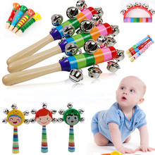 1PC Baby Bell Vocal Toys Rainbow Shaker Stick Educational Toy Handle Wooden Activity Bell Ring Rainbow Noise Maker Baby Toys