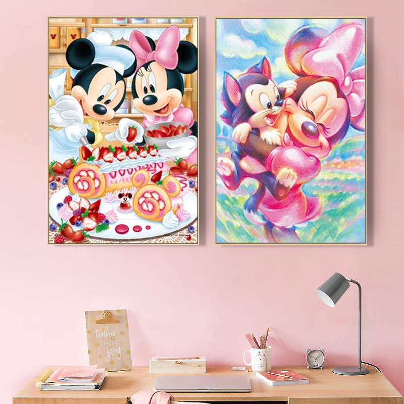 Paint By Number Art Painting By Numbers Hand-painted Mickey Mouse And Donald Duck Home Corridor Decorative Painting