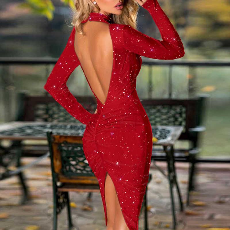 נשים סקסי חזרה חלול החוצה משי מבריק שמלת אלגנטי סתיו ארוך שרוול פיצול ClubWear שמלה נשי אופנה הלטר Bodycon שמלה