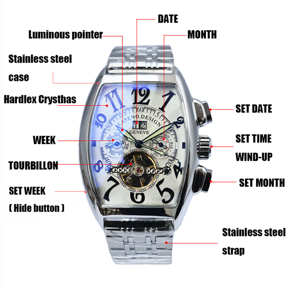 Image 3 - Tourbillon Watch Mens Skeleton Automatic Mechanical Men Watches  Top Brand Luxury Military Sport Watch Stainless Steel Male  ClockMechanical Watches
