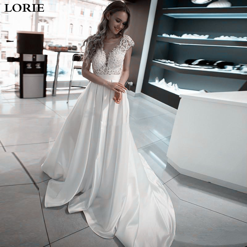 LORIE Princess Wedding Dresses Satin Vintage Top Lace Wedding Bride Dresses Open Back White Ivory Boho Wedding Gowns