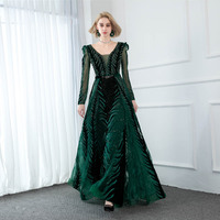 YQLNNE 2020 Couture Emerald Velvet Evening Dresses Long Sleeve V Neck Stones Beaded Formal Evening Gown Dubai Dress