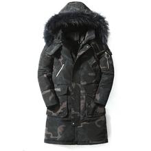 90 Down Jackets 2019 Man Warm Winter Brand Jacket Luxury Detachable Fur Collar Turtleneck Windproof Concise Comfortable Cuffs cheap JUNGLE ZONE Thick (Winter) G881 REGULAR Casual zipper Full Solid Denim Hat Detachable Button Pockets Zippers Appliques