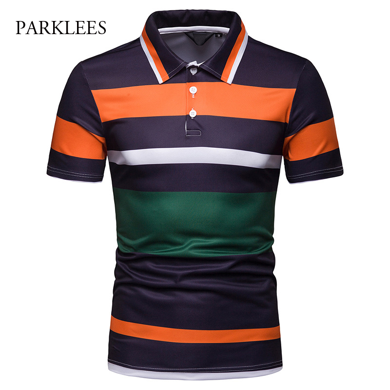 Striped Contrast   Polo   Shirt Men England Style Men's Tennis Shirt Summer Fashion Short Sleeve Shirts Casual Fit Golf   Polo   Hombres