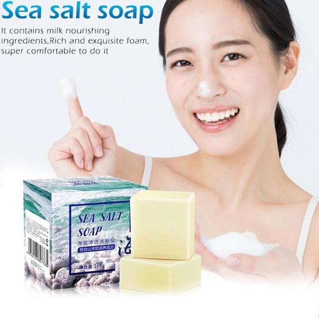 Sea Salt Soap whitening Moisturizing Wash Base Removal Care Treatment Face Pores Acne Pimple Foaming Net With V8U1 1
