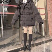 На молнии зимняя женская куртка парка в Корейском стиле женские