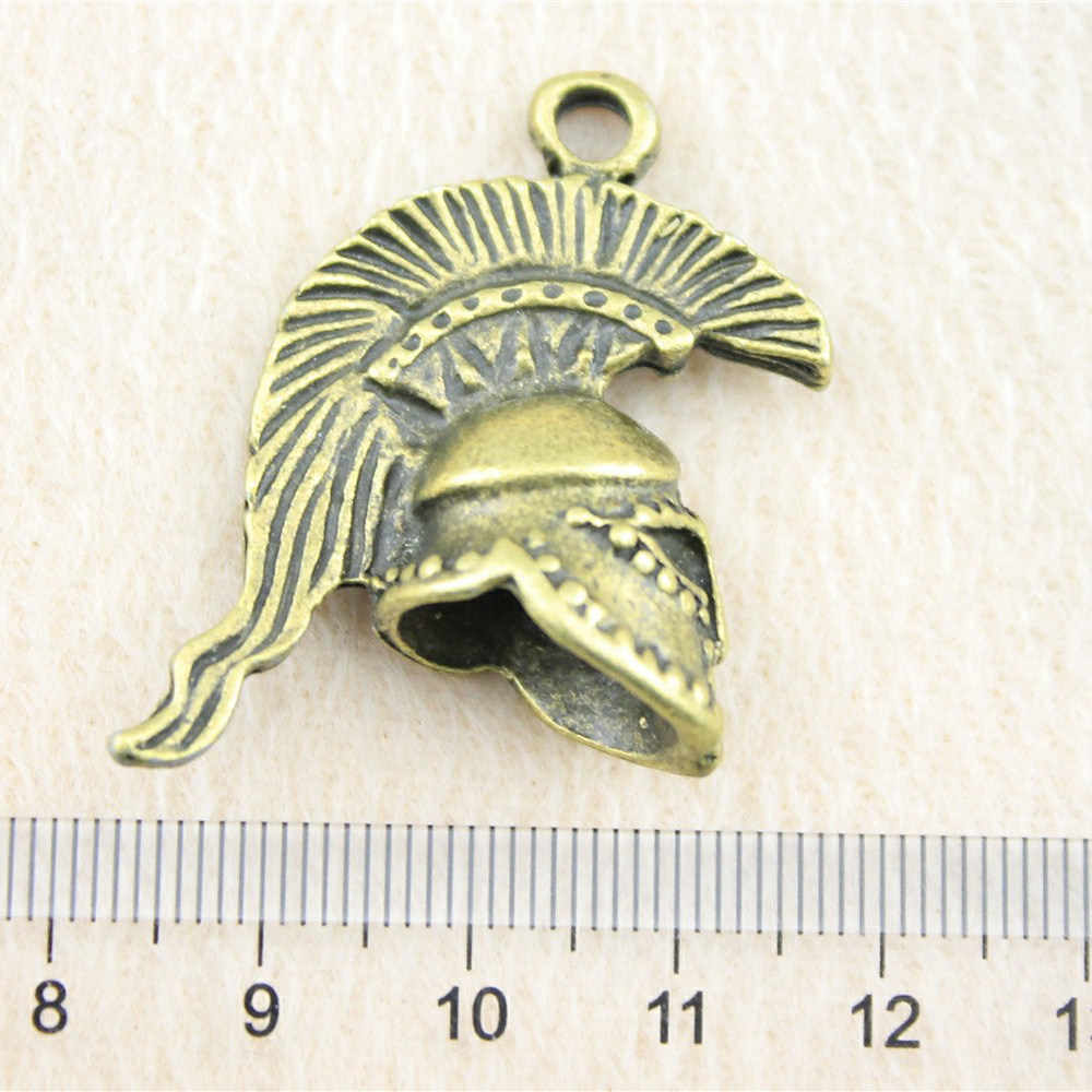 Retail Display 1 Piece 35x28x14mm 3D Retro Roman Soldier Helmet Charms Metal Pendant Jewel