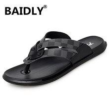 Slippers Outdoor Flip-Flops Men Slides Genuine-Leather Pantufa Casual Mens Summer Man