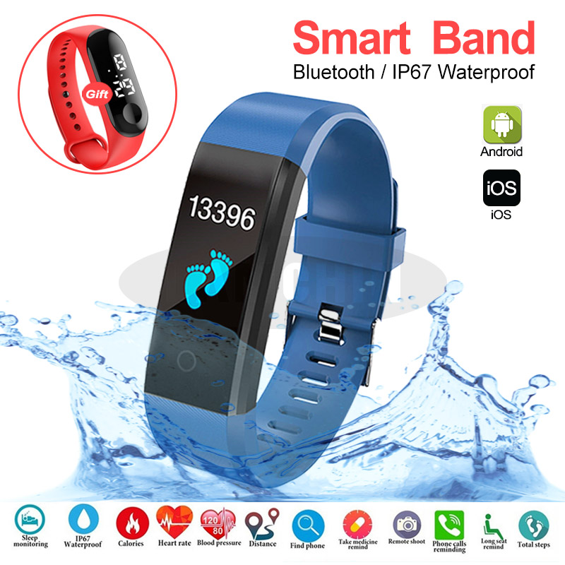 Activity Fitness Tracker Smartband Wristband Sport Health Bracelet Heart Rate Blood Pressure Smart Band