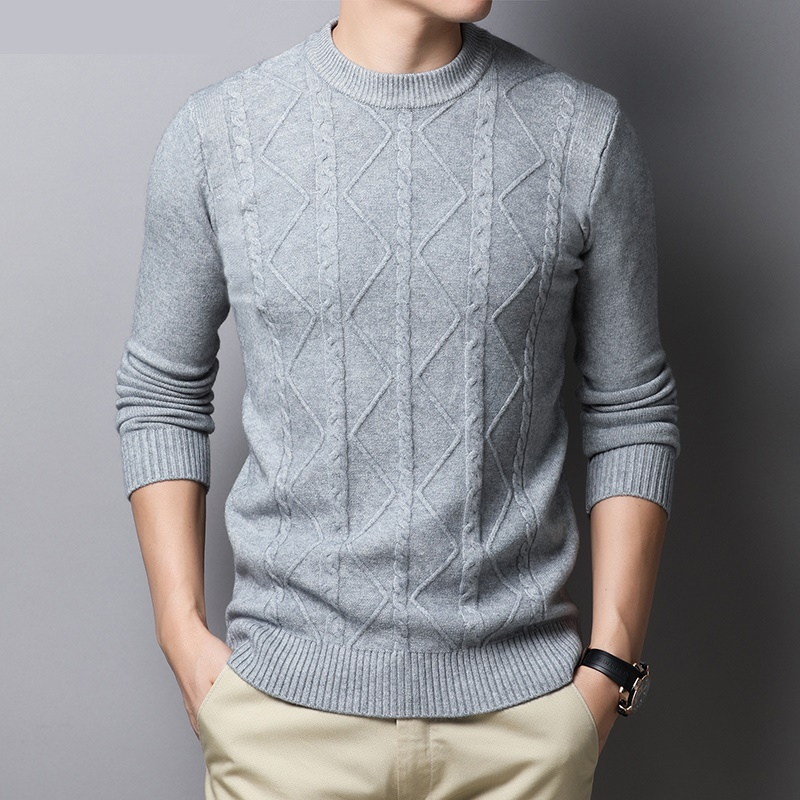 Autumn winter pullovers o-neck long-sleeved sweater men's loose stripes warm tide knitted sweaters