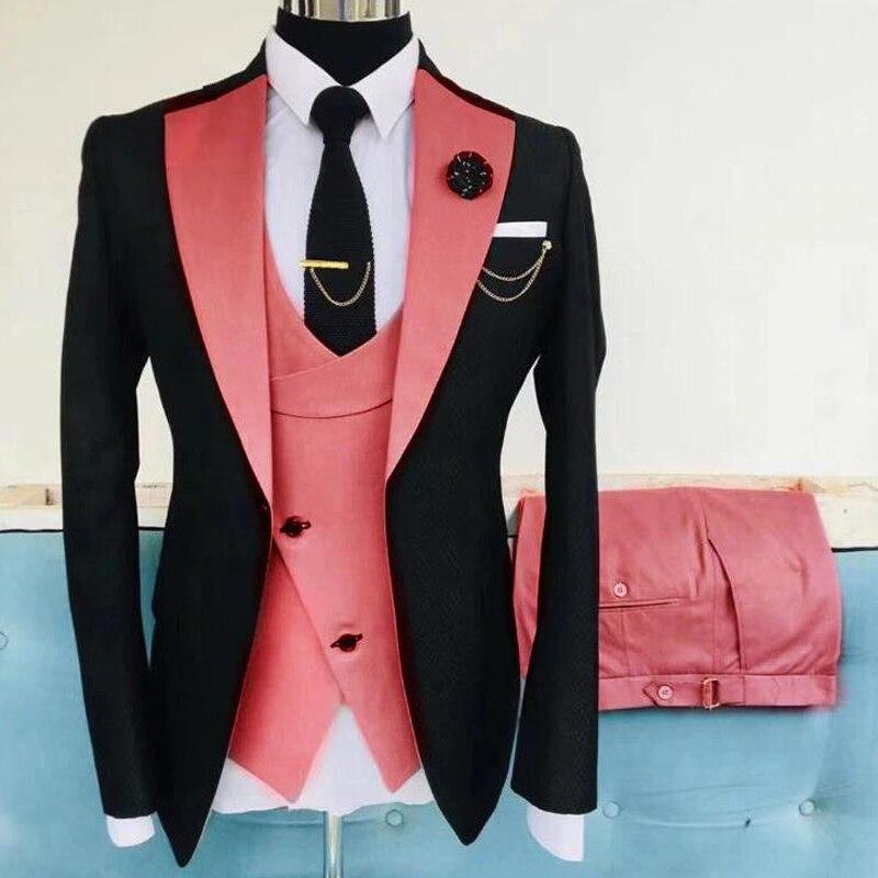 3 Piece Casual Men Suits Slim Fit with Notched Lapel Wedding Tuxedo Groomsmen Fashion Costume Jacket Waistcoat Pants 2021