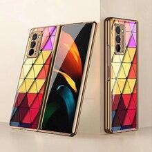 Funda de cristal con patrón de lujo para móvil, carcasa de protección completa a prueba de golpes para Galaxy Z Fold 2 5G