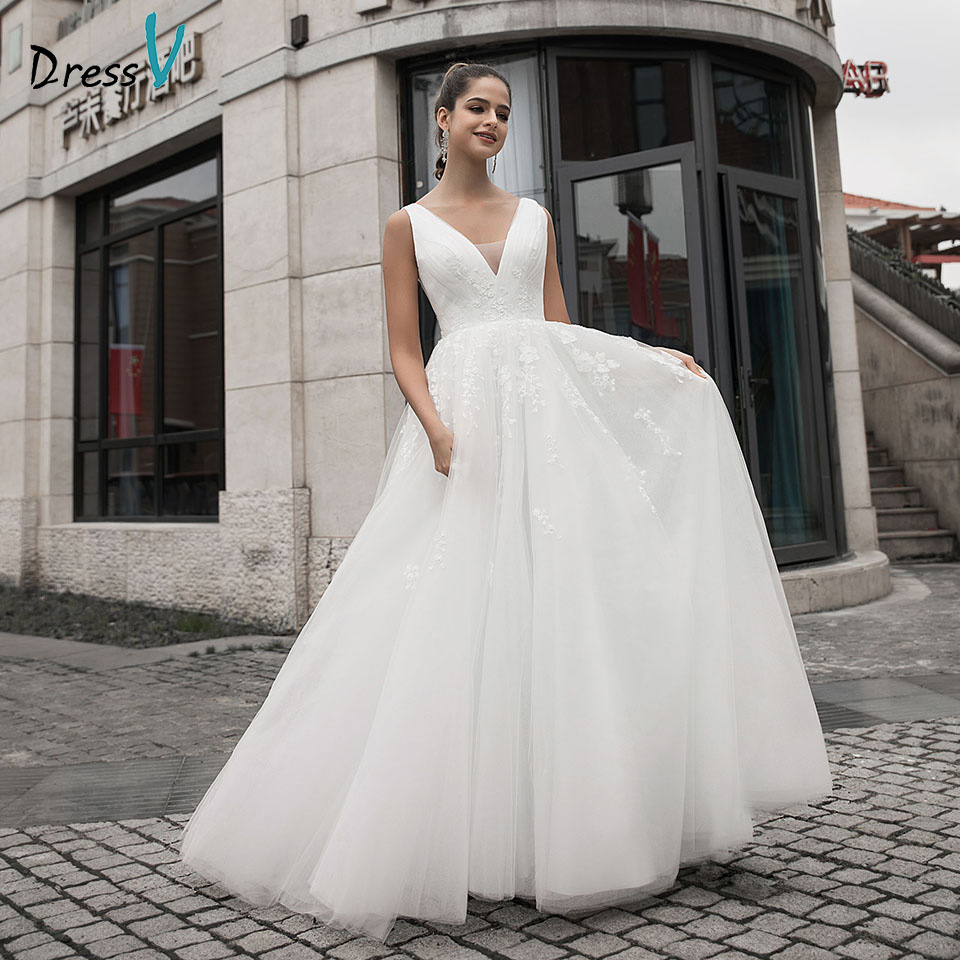 Dressv V Neck Wedding Dress A Line Appliques Sleeveless Pleats With Sweep Train Zipp Up Outdoor&Church Wedding Dresses