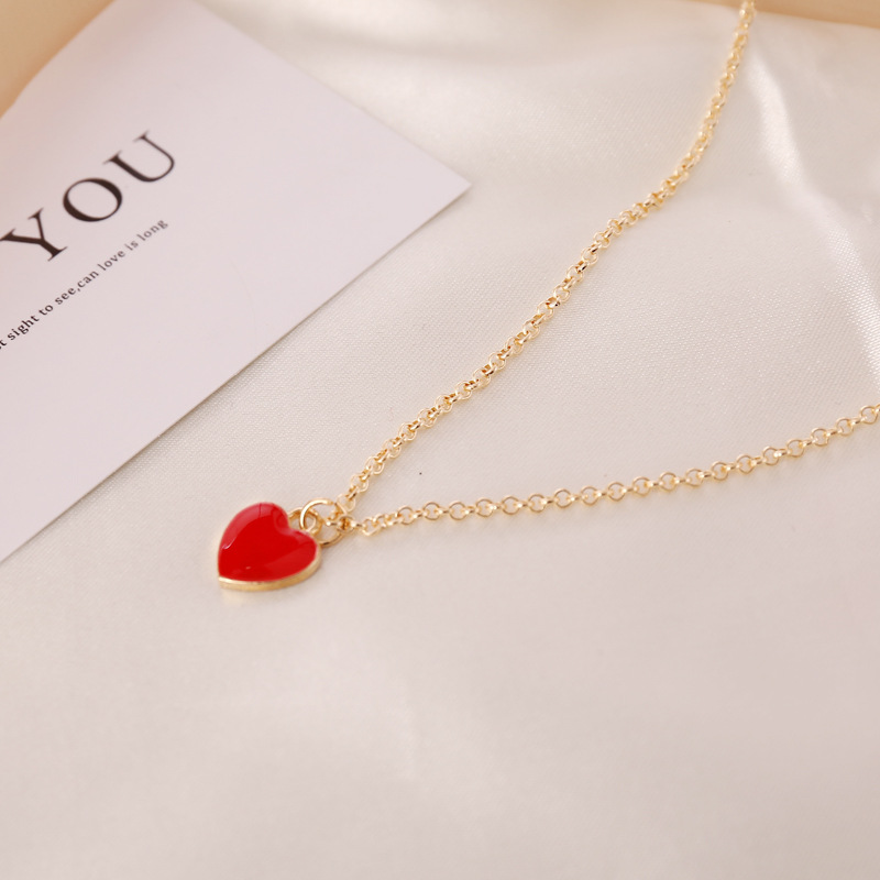 Double-sided Oil Drop Heart Pendant Necklaces for Women Gold Color 2020 Fashion Jewelry Clavicle Chain Female New Arrival