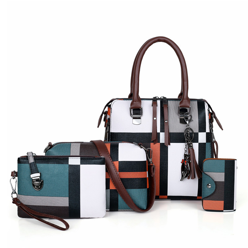 DIHOPE Luxury Handbags New 4 PCS Set Women Plaid Pattern Handbag Female Shoulder Bag Travel Shopping Ladies Crossbody Bag