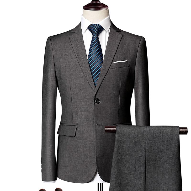 (Blazer+Pants) Classic Men Suit Solid Color Slim Royal Blue Wedding Groom Wear Man Suit Gentlemen Costume Mariage Homme M-6XL