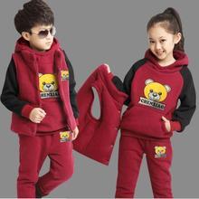 Garnitur dziecięcy trzyczęściowy zestaw dziecięcy nowe chłopięce dziewczęce zagęszczony kaszmirowy sweter + spodnie + kamizelka zestawy sportowe 3-12 lat odzież tanie tanio CEDUOWAHS Moda CN (pochodzenie) Z kapturem Swetry kids sets COTTON spandex Unisex Pełna REGULAR Pasuje prawda na wymiar weź swój normalny rozmiar