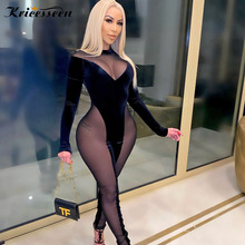 Jumpsuit Women Rompers Clubwear Velvet Long-Sleeve Bodycon One-Piece Sexy Black See-Through