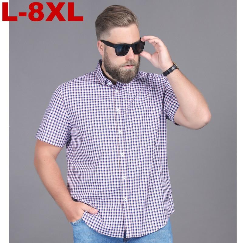 8XL Plus Size Men Fashion Slim Fit Casual Plaid Shirt Men Dress Shirts Short Sleeve Social Mens Shirt Striped Chemise Homme