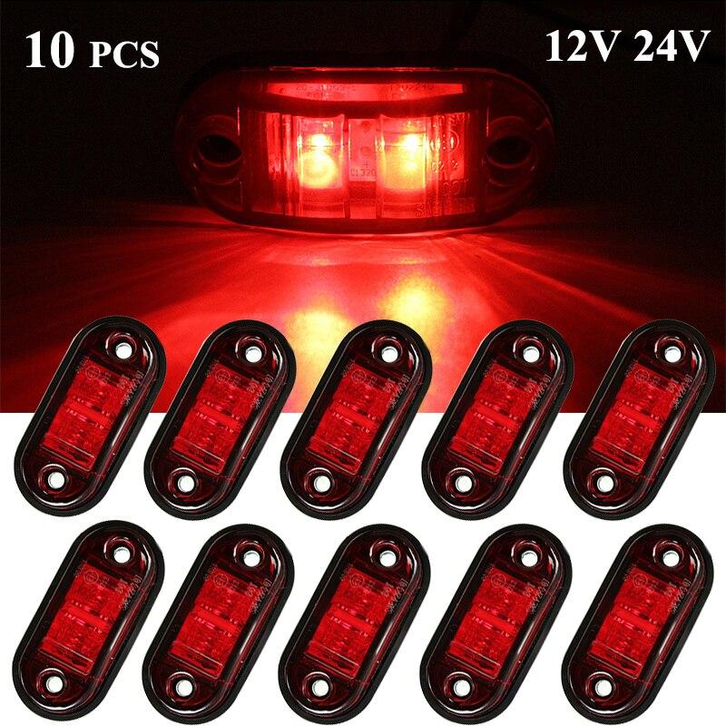 10 шт. 12 В 24 в светодиодные, боковые, габаритные фонари, фары для прицепа, автомобильные тележки, camion лампы, красные светодиодные 24 В аксессуар...
