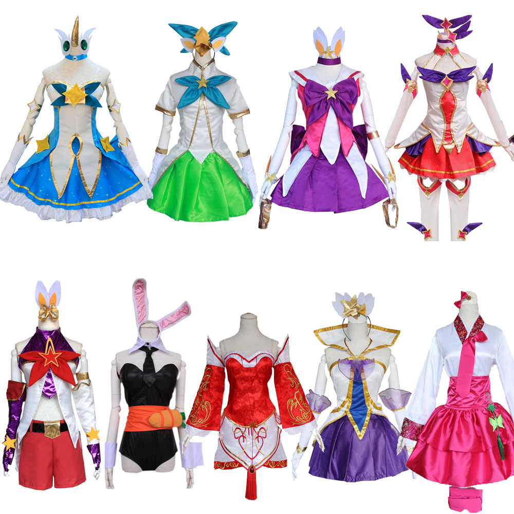 Games LOL Magic Girl Soraka Lux Cosplay Costumes Star Guardian Neeko Ahri Nine-Tailed Fox Outfits AsheWomen Dress For Halloween