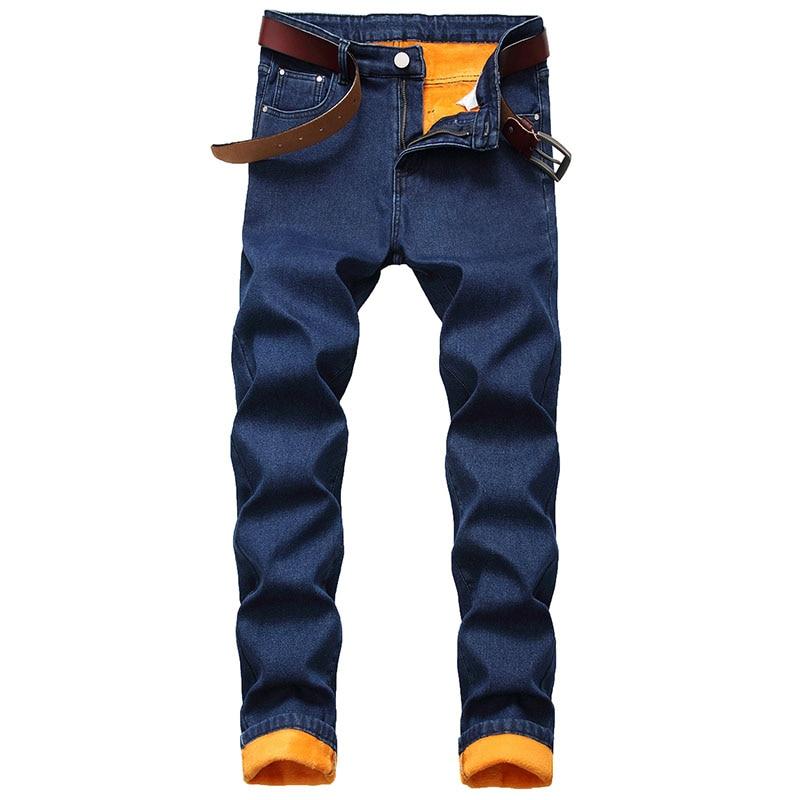 Mcikkny Men Winter Warm Denim Trousers Fleece Lined Solid Color Jeans Pants For Male Slim Fit Size 30-42