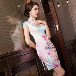 Image 3 - 2019 ขายสั้น Vestido De Debutante ฤดูร้อนใหม่แฟชั่นพิมพ์ผ้าไหม Cheongsam กระโปรงคลาสสิกแยก Slim Dress ผม Substitute