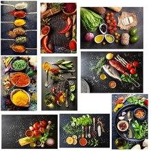 Decoración nórdica del hogar lienzo pintura granos especias cuchara pimientos cocina carteles impresiones pared arte moderno comida imagen Modular