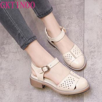 Women shoes summer sandals female handmade genuine leather women casual comfortable woman shoes sandals women summer shoes Y-067