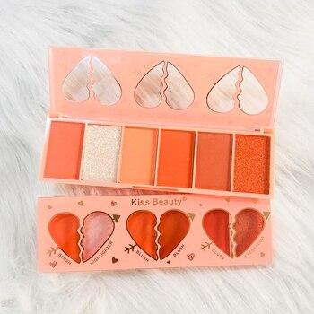 Kiss Beauty 6 оттенков оранжевый серия тени для век Румяна Матовые Перламутровые тени для век блестящие яркие тени для век палитра для макияжа глаз