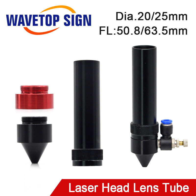WaveTopSign Co2 Lens Tube Outer Diameter 25mm For Lens Dia.20/25mm FL 50.8/63.5mm For CO2 Laser Cutting Machine