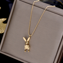 YUN RUO Trendy Mobile Rabbit Pendant Necklace Yellow Gold Color 316L Titanium Steel Jewelry Woman Gift Never Fade Hypoallergenic trendy never fade titanium steel snake chain choker necklace for women