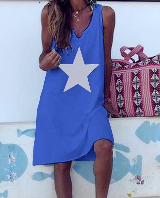 Mujeres 2019 suelta estrella Vintage chaleco volantes Sexy Befree blusa camisa grande verano Camis fiesta playa Vestidos Tallas grandes