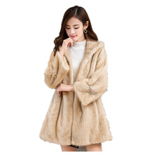 2019 Winter Coat women New fashion Leather fur coat Ladies long style Hat jacket Mink Fur Faux Fur coat Jacket women new fur coat 2017 nightclub fashion man made sleeves with a hat hat raccoon big faux fur coat jacket size womans faux fur coat