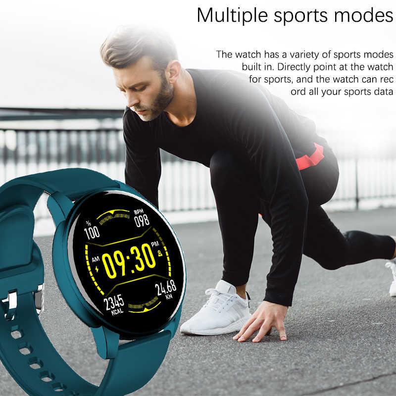 ליגע חכם שעון נשים גברים מלא מגע צבע מסך לחץ דם קצב לב צג Smartwatch ספורט שעון מעורר שעון תזכורת