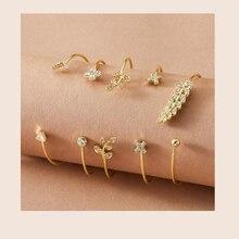 5pcs Rhinestone Engraved Leaf & Cross Decor Cuff Bracelet Best Gift for Women Girl B001 charming rhinestone leaf cross bracelet