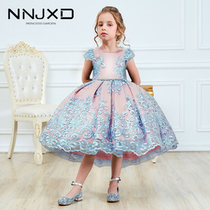 Girls Princess Kids Dresses for Girls Tutu Lace Flower Embroidered Ball Gown Baby Girls Clothes Children Wedding Party Dress(China)